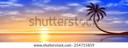 A Beautiful Sunset, Sunrise with Palm Tree. Vector EPS 10.