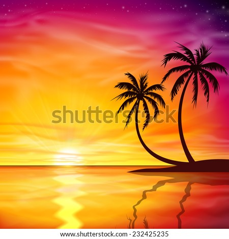 A Beautiful Sunset, Sunrise with Palm Trees - Vector EPS 10.