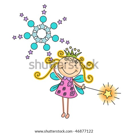 a beautiful vector illustration of a fairy with crown and magic stick