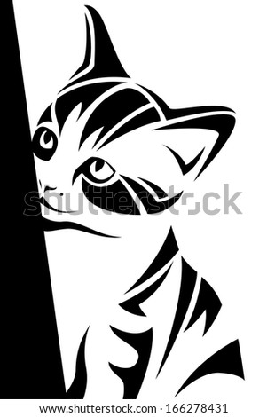 A beautiful vector picture of a cat in silhouette. On a white background.  - stock vector