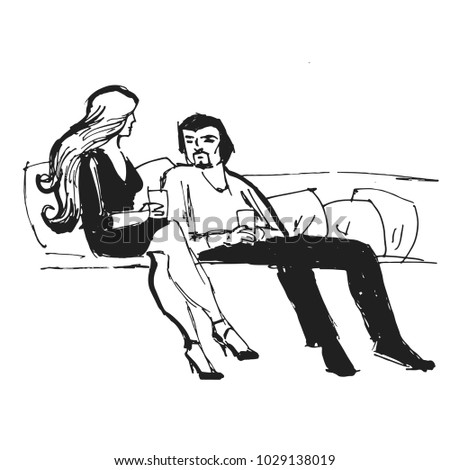 A beautiful woman and a man are sitting  on the couch. Black and white graphics. Painted by hand. Vector. Illustrator10