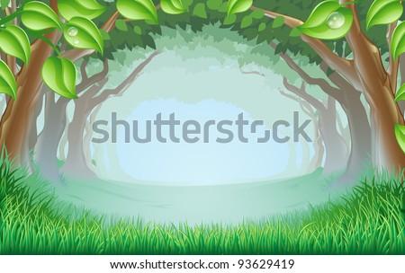 Cartoon Woodland Scene a Beautiful Woodland Scene