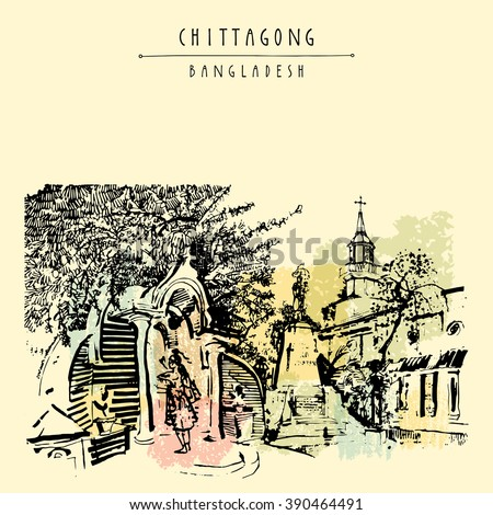 A Bengali girl praying at Patharghata Catholic Church, Chittagong, Bangladesh, Asia.  Vintage hand drawn postcard in vector