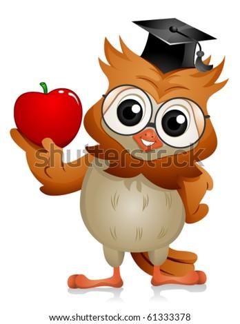 A Bespectacled Owl Holding an Apple - Vector - stock vector