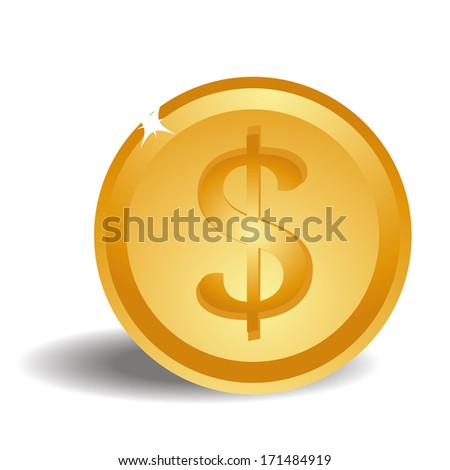 a big bright golden coin with a money symbol in it