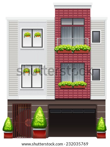 A big commercial building on a white background  - stock vector