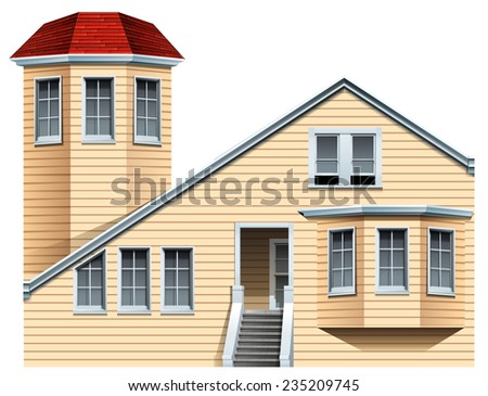 A big commercial property on a white background  - stock vector