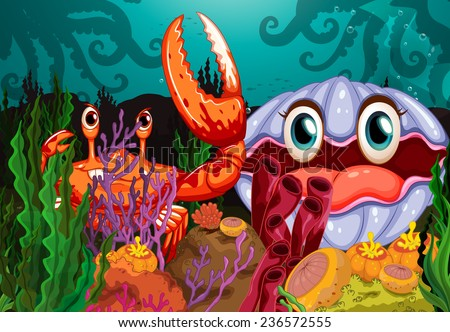 A big crab and a clam under the sea - stock vector