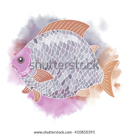 A big decorative fantastic fish painted with bright rainbow colors. Vectorized watercolor illustration. - stock vector