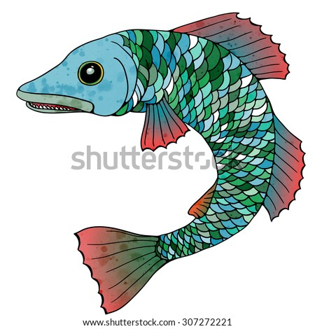 A big decorative fantastic fish with green and blue scales and pink fins. Vector illustration.