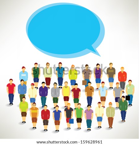 A Big Group of Men Gather Together Vector Design - stock vector