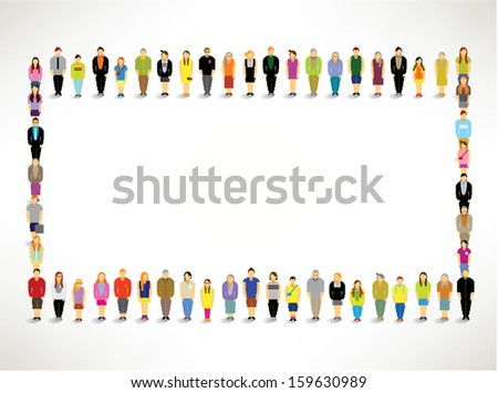 A Big Group of People Gather and Talk Together Vector Design - stock vector