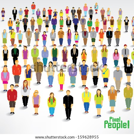 A big group of people gather together vector design - stock vector