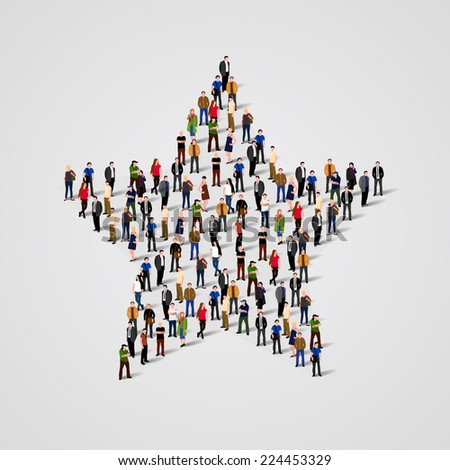 A Big Group of People standing in a star sign. - stock vector