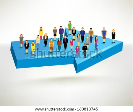 A big group of people standing on an arrow conceptual vector design
