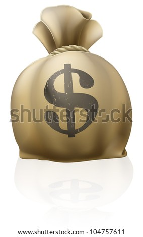 A big money sack full of dollars with dollar sign - stock vector