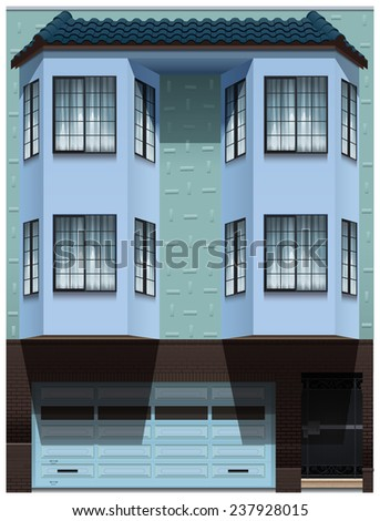 A big office building on a white background - stock vector
