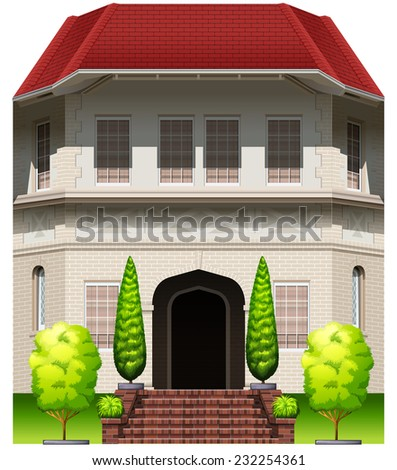 A big old building on a white background  - stock vector