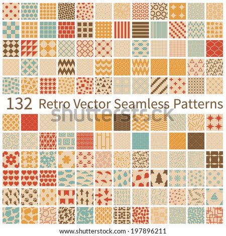 A big Set of 132 seamless retro geometric, polka dot, floral, decorative patterns. Vector illustration EPS8.  - stock vector