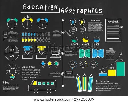 A big set of various statistical education infographic elements with different educational supplies on black background. - stock vector
