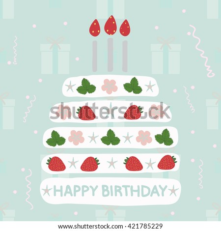 A birthday cake with candles with strawberries. Gifts Seamless pattern,streamer-vector illustration. Vintage  background. - stock vector