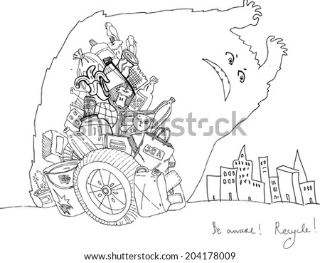 A black and white doodle drawing. A scary shadow from a gigantic garbage heap is falling onto the city. Be aware ! recycle!  - stock vector