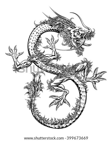 A black and white illustration of a Chinese or Japanese style oriental dragon - stock vector