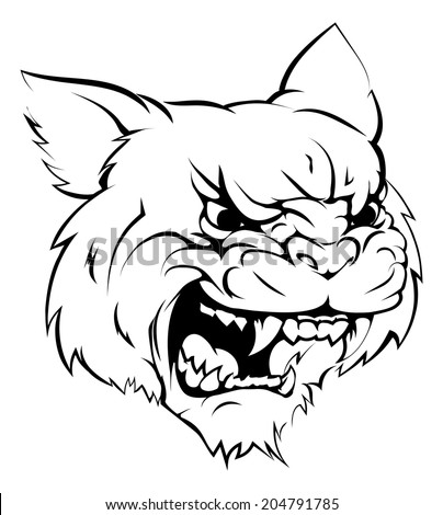 A black and white illustration of a fierce wildcat animal character or sports mascot - stock vector