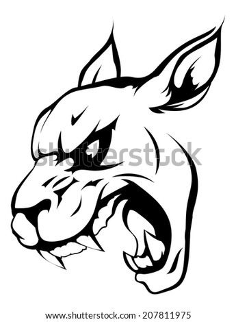A black and white illustration of a fierce wildcat, panther or puma animal character or sports mascot - stock vector