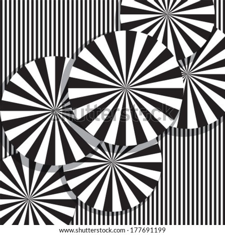 A black and white optical illusion. - stock vector