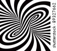 A black and white spiral optical illusion - stock photo