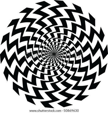 A black and white spiral optical illusion - stock vector