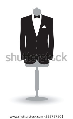 a black and white suit on a mannequin - stock vector