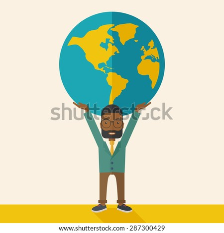 A black businessman carrying big globe it is a symbol that he is number one in the world in business society. A Contemporary style with pastel palette, soft beige tinted background. Vector flat design - stock vector