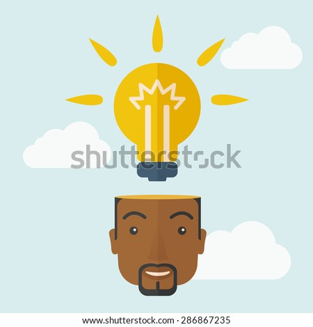 A black businessman has a bright idea for marketing strategy with a bulb on his head. Human intelligence concept. A Contemporary style with pastel palette, soft blue tinted background with desaturated