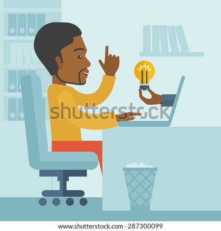 A black businessman sitting while working infront of his desk getting a brilliant idea for business from the laptop. Business concept. A contemporary style with pastel palette soft blue tinted - stock vector