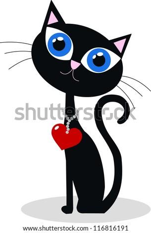 a black cat - stock vector