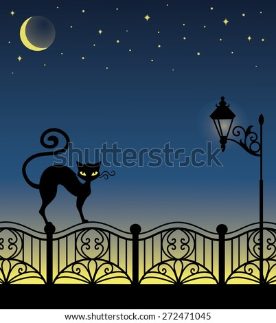 A black cat standing on a fence. - stock vector