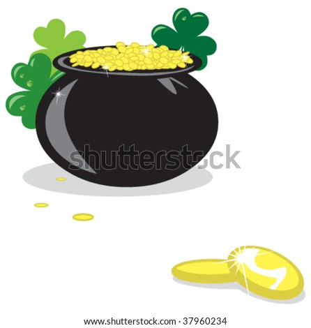 A black cauldron of gold surrounded by clovers.