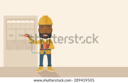 A black Electrician wearing hard hat repairing an electrical panel. A Contemporary style with pastel palette, soft beige tinted background. Vector flat design illustration. Horizontal layout with text - stock vector
