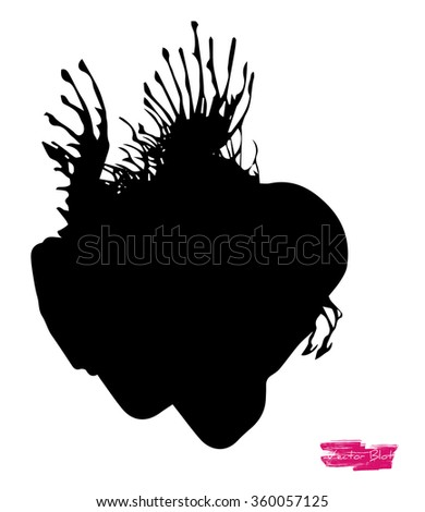 A black handmade vector blot or blob with feather edges and shape of some life-form against white background; also looking like shape of heart - stock vector
