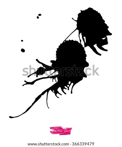 A black handmade vector blot or blob with feather edges and shape of some life-form against white background - stock vector