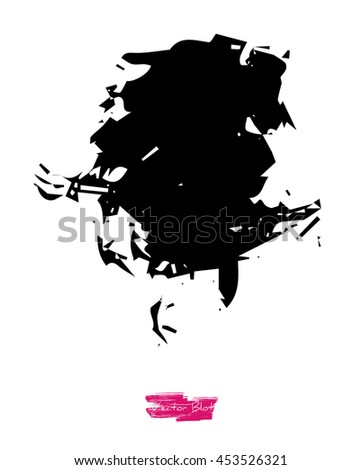 A black handmade vector blot or blob with grunge or icy texture against white background - stock vector