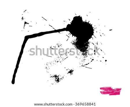 A black handmade vector blot or blob with grunge texture against white background - stock vector