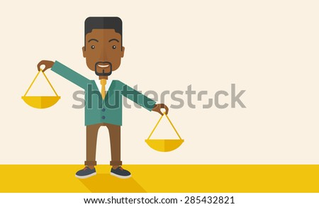 A black holding a Weighing scale inclined to the other side. Balancing concept. . A Contemporary style with pastel palette, soft beige tinted background. Vector flat design illustration. Horizontal - stock vector