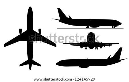 A black illustration of airplanes silhouettes . - stock vector