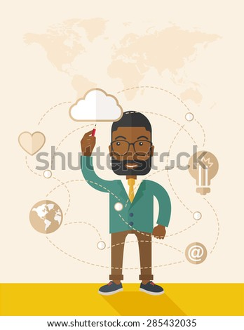 A Black man holding a pen making his presentation on glass board to be represent to his co worker. Teamleader concept.  A Contemporary style with pastel palette, soft beige tinted background. Vector - stock vector