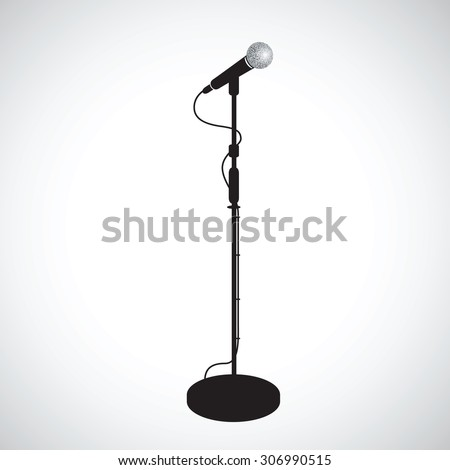 a black microphone stand - stock vector