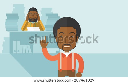 A black office clerk has a lot of works to do with those papers infront of him, problem on how to meet the deadline of his report. Disappointment concept. A Contemporary style with pastel palette - stock vector