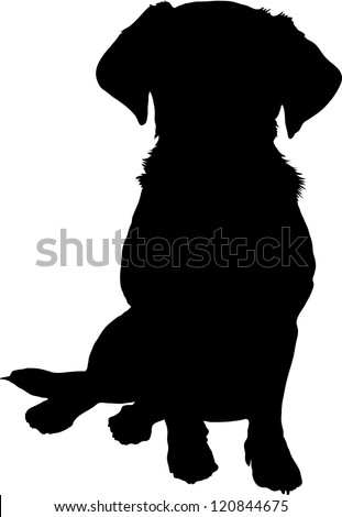 A black silhouette image of a puppy sitting facing the viewer. - stock vector